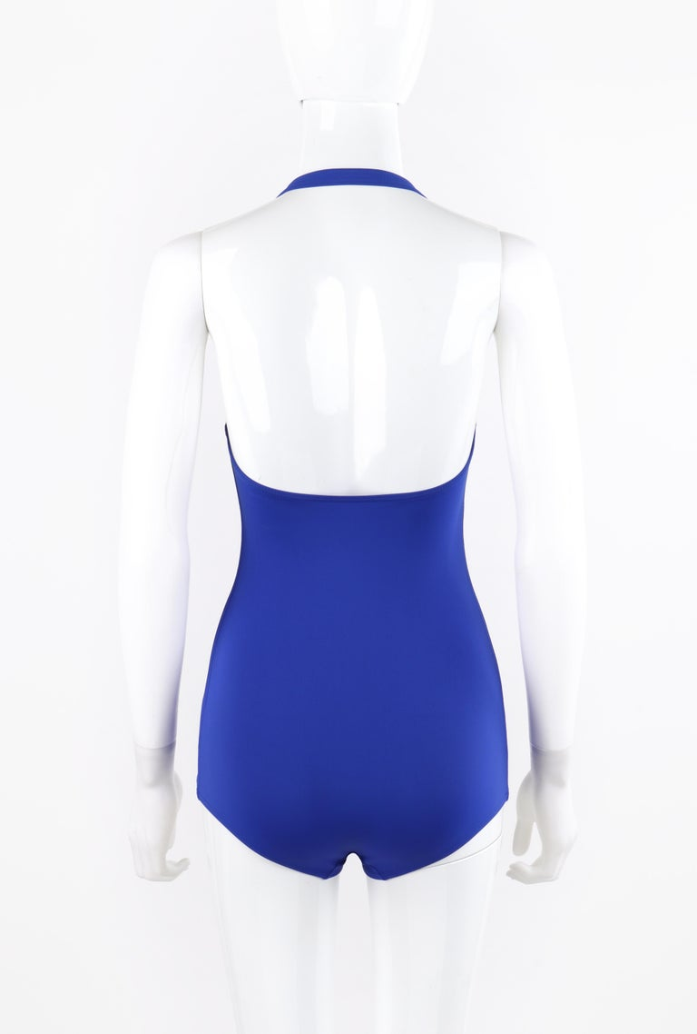 Women's HERMES c.2000's Blue Gold Toggle Bustier Halter Top One Piece Bathing Swimsuit For Sale