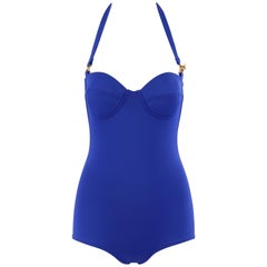 HERMES c.2000's Blue Gold Toggle Bustier Halter Top One Piece Bathing Swimsuit