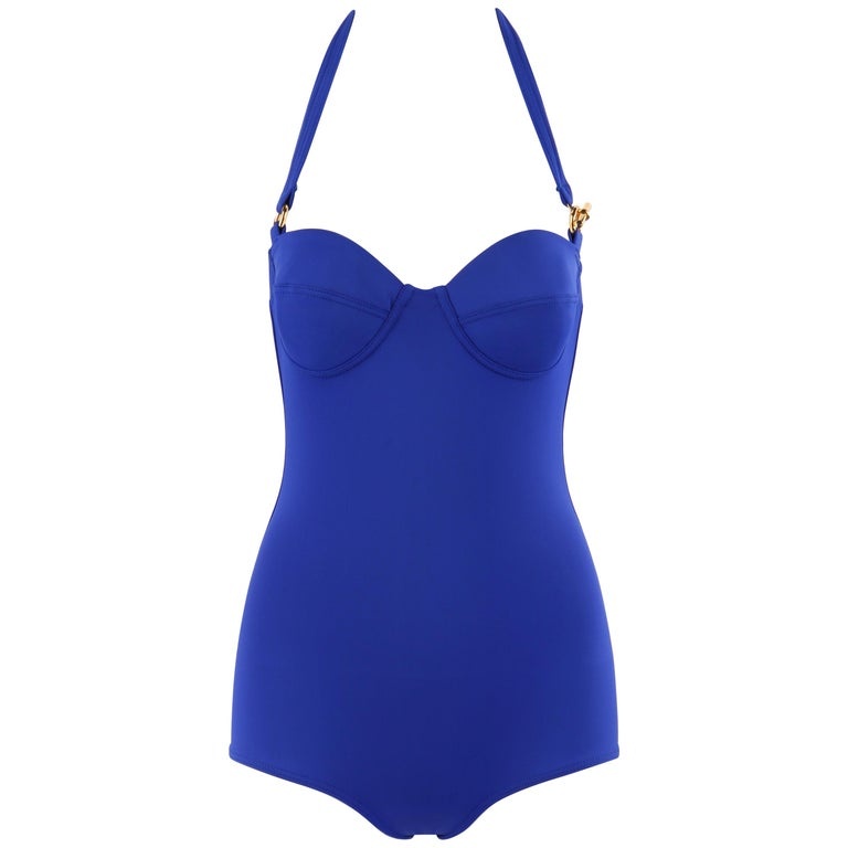 HERMES c.2000's Blue Gold Toggle Bustier Halter Top One Piece Bathing Swimsuit For Sale