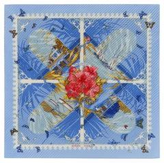 "HERMES c.2001 Dimitri Rybaltchenko ""Varangues"" Blue Tropical Floral Plisse Scarf"