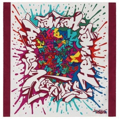 "HERMES c.2011 Cyril Phan Kongo ""Graff"" Multicolor Graffiti Art Silk Scarf w/Box"