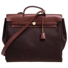 Hermes Cacao/Natural Canvas and Leather Herbag Zip 39 Bag