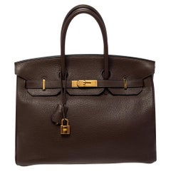 Hermes Cacao Taurillon Clemence Leather Gold Plated Birkin 35 Bag