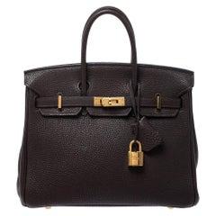 Hermes Cacao Togo Leather Gold Hardware Birkin 25 Bag