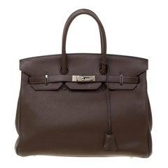 Hermes Cacao Togo Leather Palladium Hardware Birkin 35 Bag
