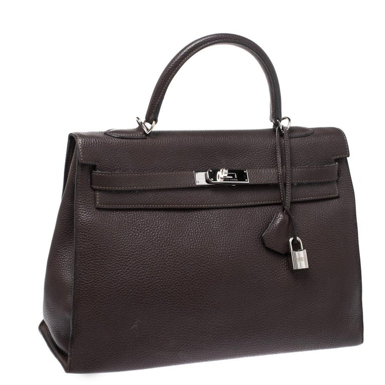 Hermes Cacao Togo Leather Palladium Hardware Kelly Sellier 35 Bag In Good Condition In Dubai, Al Qouz 2