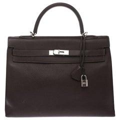 Hermes Cacao Togo Leather Palladium Hardware Kelly Sellier 35 Bag