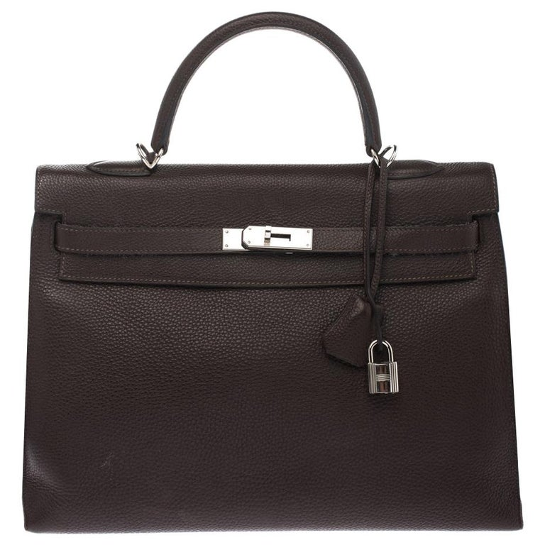 Hermes Cacao Togo Leather Palladium Hardware Kelly Sellier 35 Bag