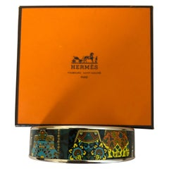 Hermes Cachemire de Tamara Enamel and Palladium Bangle (O-2011) w/Box/Dust Bag