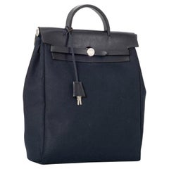 HERMES Calf Leather  Her Bag Backpack Black, Pre Loved