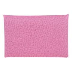 Hermes Calvi Card Holder 5P Pink Epsom Leather New w/Box