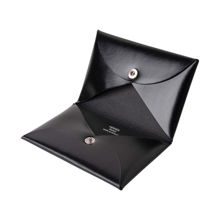 Black Hermes Calvi Card Holder Noir Box Leather Rare New w/ Box For Sale