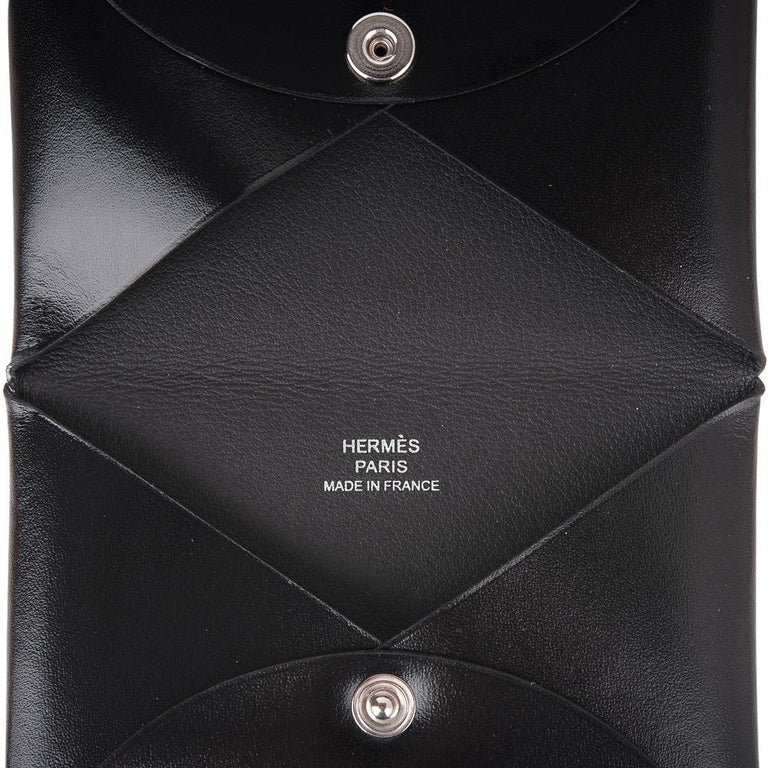 Hermes Calvi Card Holder Noir Box Leather Rare New w/ Box For Sale 3