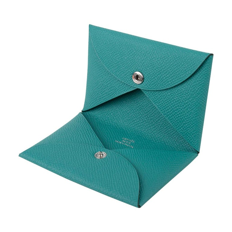 Blue Hermes Calvi Card Holder Vert Verone Epsom Leather New w/ Box For Sale