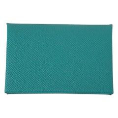 Hermes Calvi Card Holder Vert Verone Epsom Leather New w/ Box