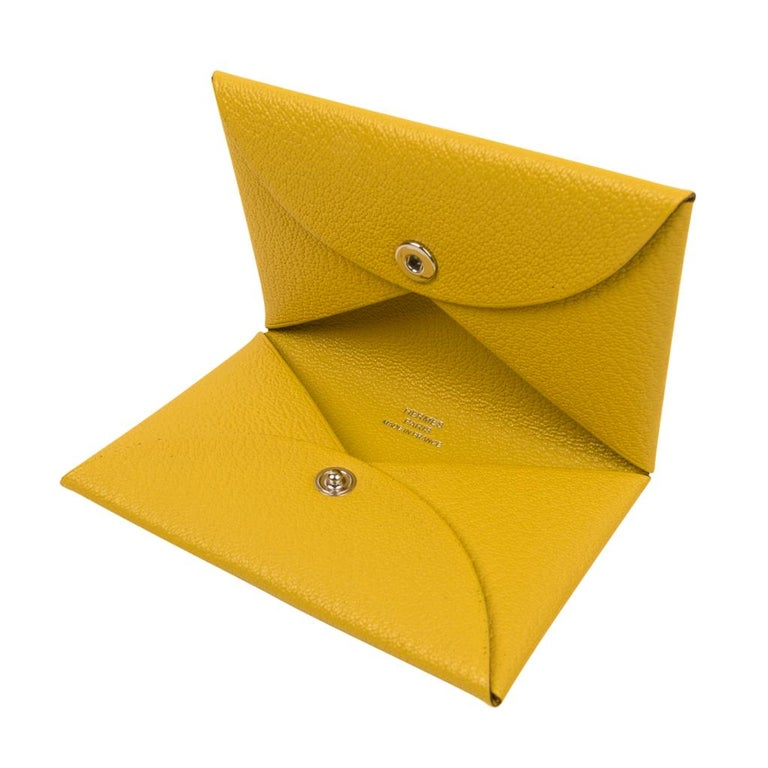 Yellow Hermes Calvi Jaune de Naples Mysore Chevre Leather Card Holder For Sale
