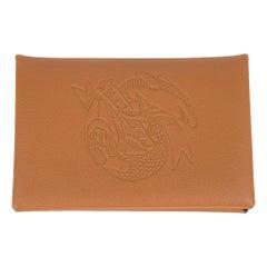 Hermes Calvi Sailor Tattoo Card Holder Gold / Havane Bi-Color Swift Leather