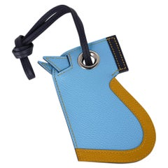 Hermes Camail Key Ring Bag Charm Bleu Celeste /Jaune Ambre/ Blue Indigo New