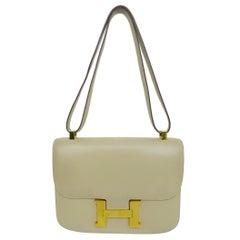 HERMES Camel Constance Crossbody Bag