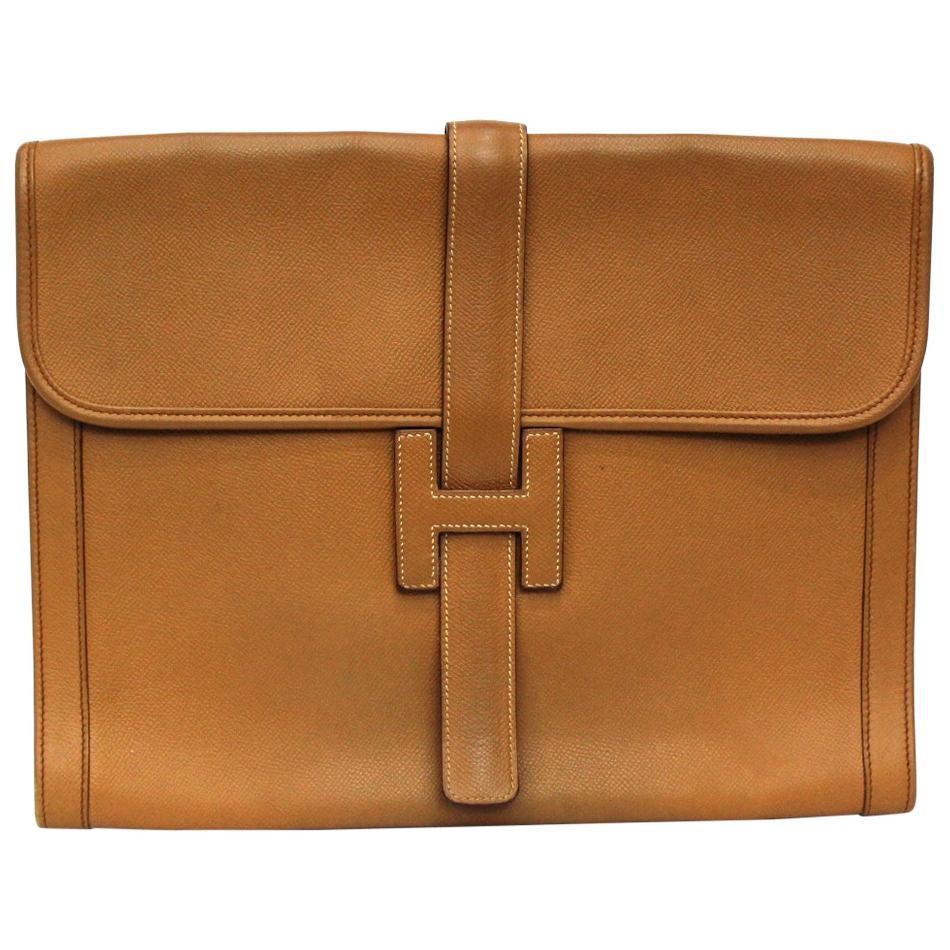 Hermès Camel Leather Jige Elan Clutch