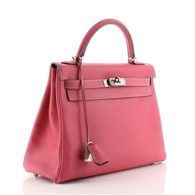 Pink Hermes Candy Kelly Handbag Epsom 32