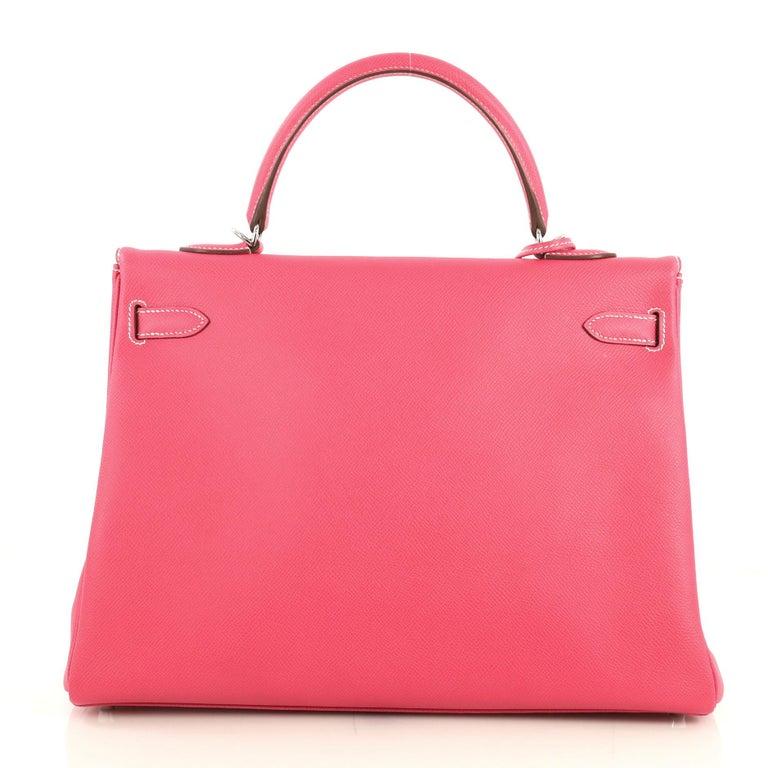 Pink Hermes Candy Kelly Handbag Epsom 35