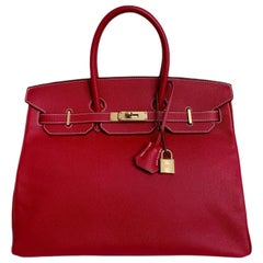 Hermes Candy Rouge Epsom 35 cm Birkin with Permabrass