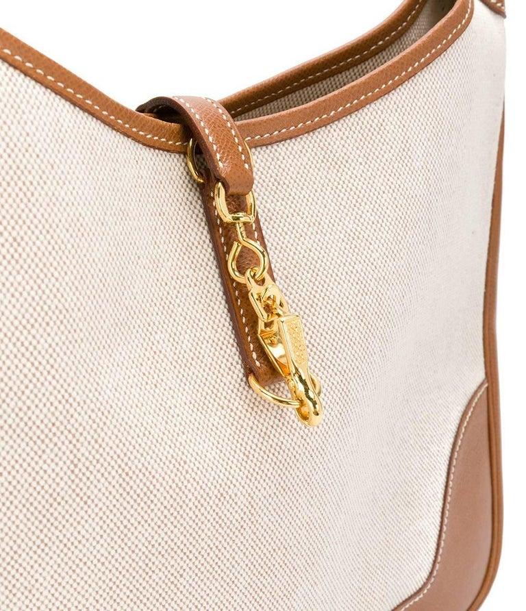 Beige Hermès Canvas and Leather Vintage Bag, 1990s For Sale