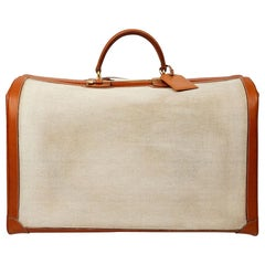 Hermes Canvas and Leather Vintage Travel Luggage