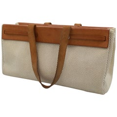 Hermes Canvas and Natural Leather Herbag