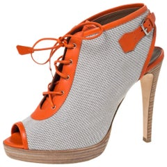 Hermes Canvas And Orange Leather Trim Lace Up Peep Toe Platform Booties Size 40