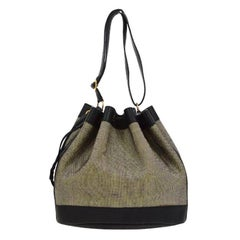 Hermes Canvas Black Leather Bucket Gold Drawstring Carryall Shoulder Bag