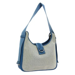 Hermes Canvas Blue Leather Silver Carryall Top Handle Satchel Shoulder