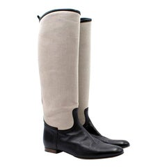 Hermes Canvas Riding Boots 40