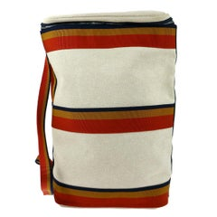 Hermes Canvas Tan Red Blue Orange Stripe Men's Knapsack Shoulder Travel Bag