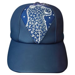 Hermès Cap Hat Thelma Les Leopards Bandana Leather Silk Navy Blue 55