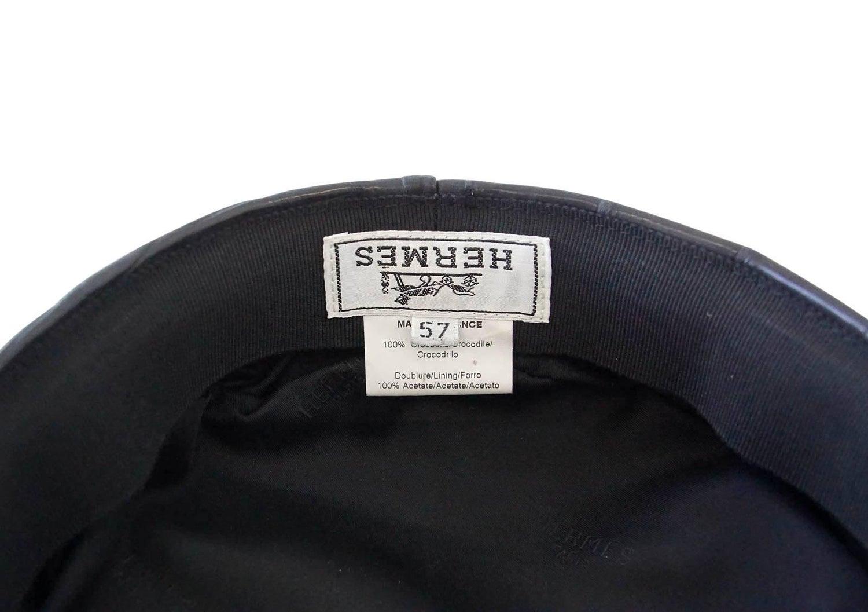 0655deb68af Hermes Cap Matte Black Crocodile Newsboy Hat 57 w  Box Very Rare For Sale  at 1stdibs