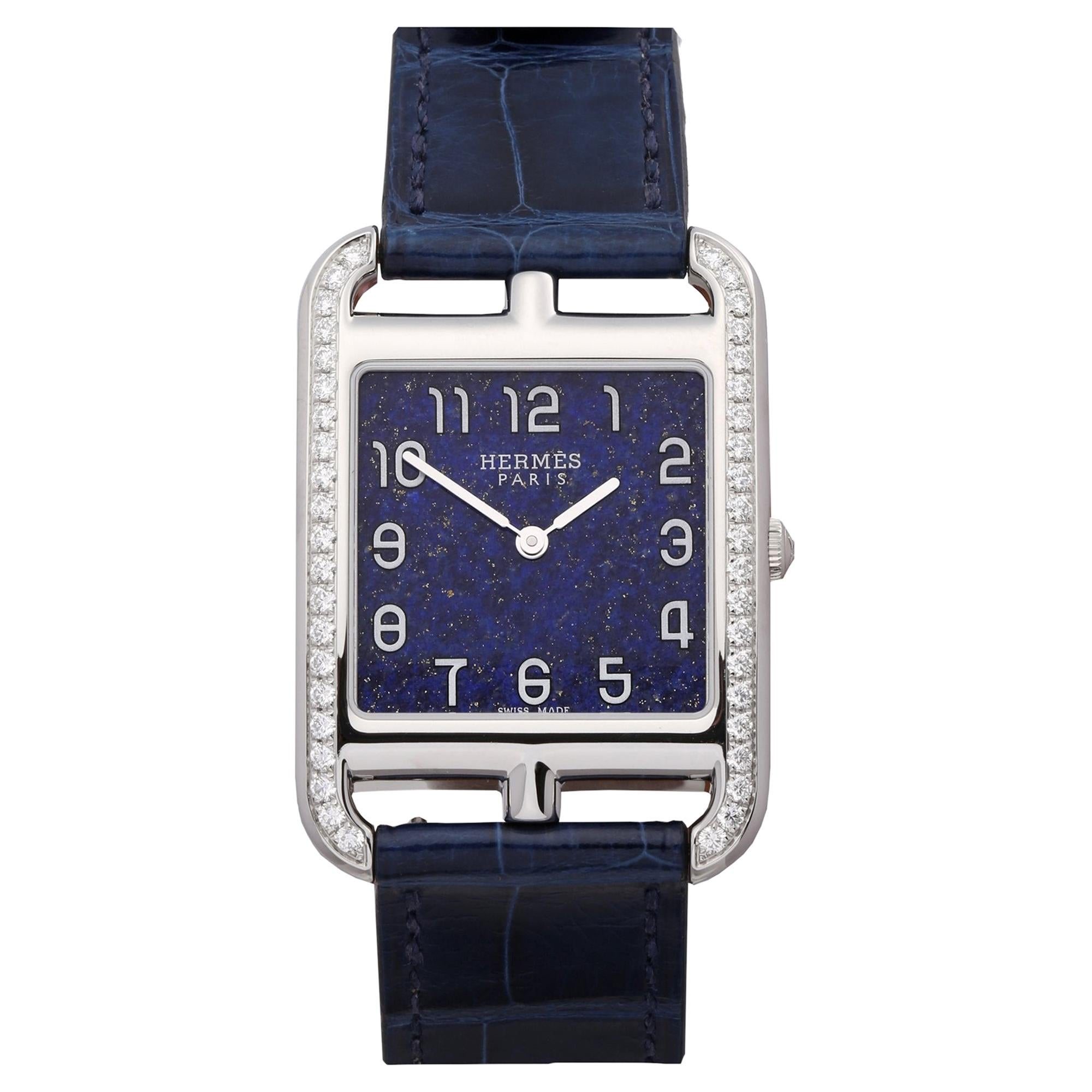 Hermes Cape Cod CC3.730 Ladies Stainless Steel Lapis Lazuli Dial Watch