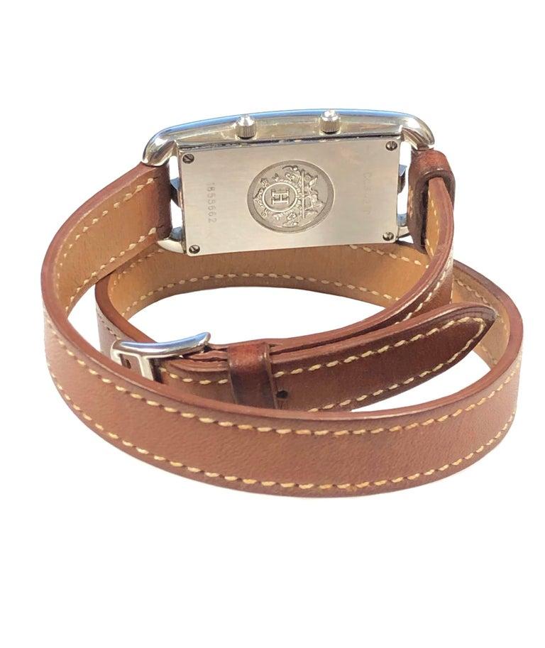 Hermès Cape Cod Dual Time Zone Steel Quartz Wristwatch In Excellent Condition For Sale In Chicago, IL