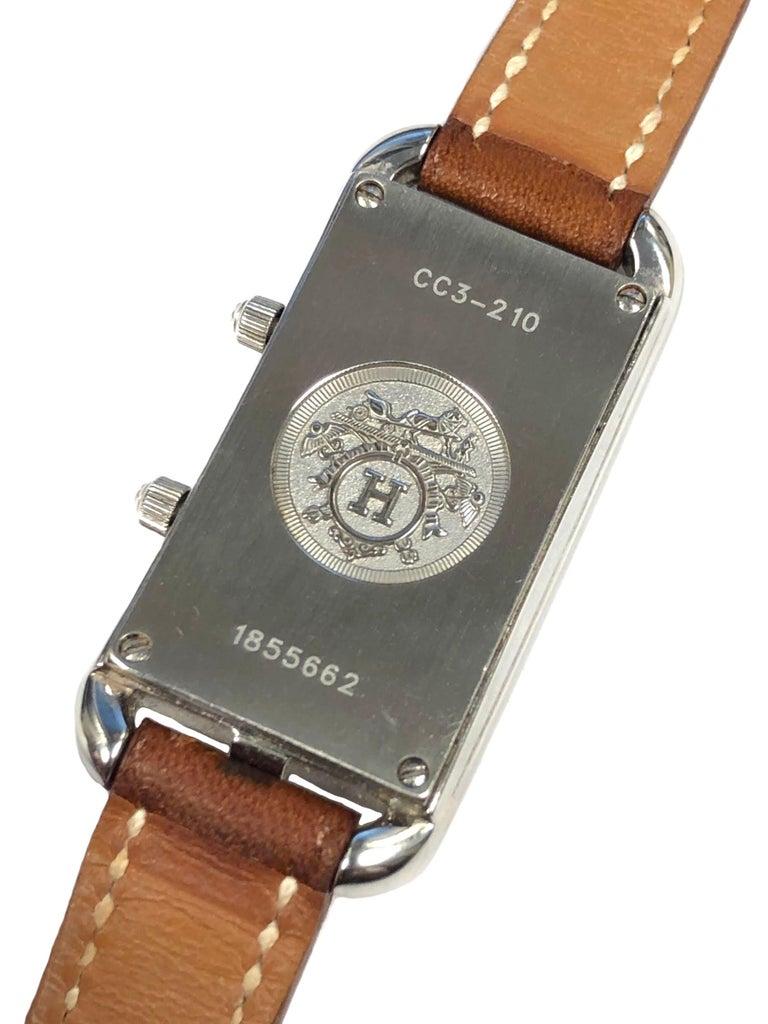 Women's or Men's Hermès Cape Cod Dual Time Zone Steel Quartz Wristwatch For Sale