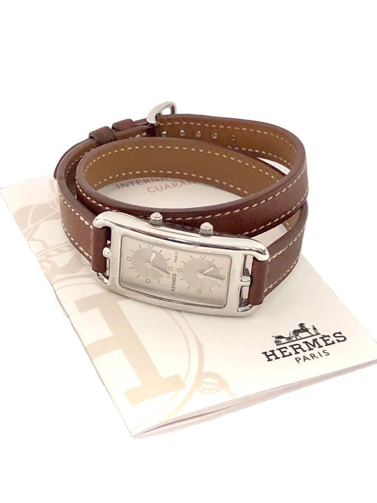 Hermès Cape Cod Dual Time Zone Steel Quartz Wristwatch For Sale 2