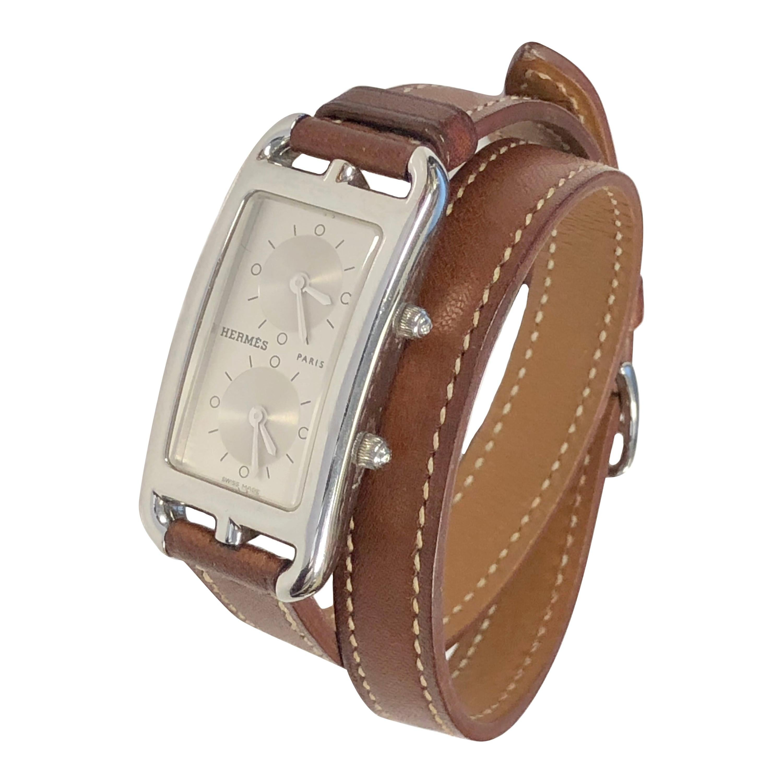 Hermès Cape Cod Duel Time Zone Steel Quartz Wristwatch
