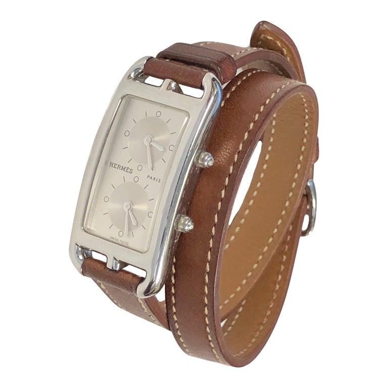 Hermès Cape Cod Dual Time Zone Steel Quartz Wristwatch For Sale