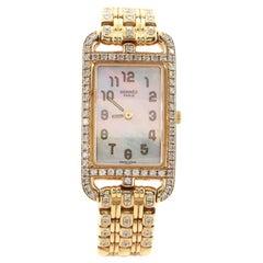 Hermes Cape Cod Nantucket Quartz Watch Yellow Gold with Diamond Bezel