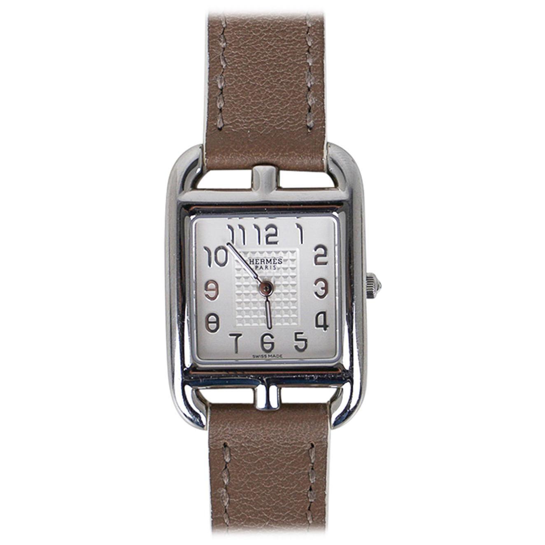 Hermes Cape Cod Steel Watch Etoupe Calfskin Band New w/ Box