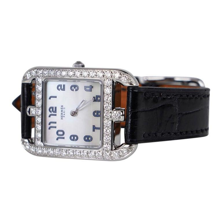 Women's or Men's Hermes Cape Cod Timepiece Diamond Watch New w/Box For Sale