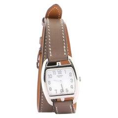 Hermes Cape Cod Tonneau Double Tour Quartz Watch Stainless Steel and Leather 26