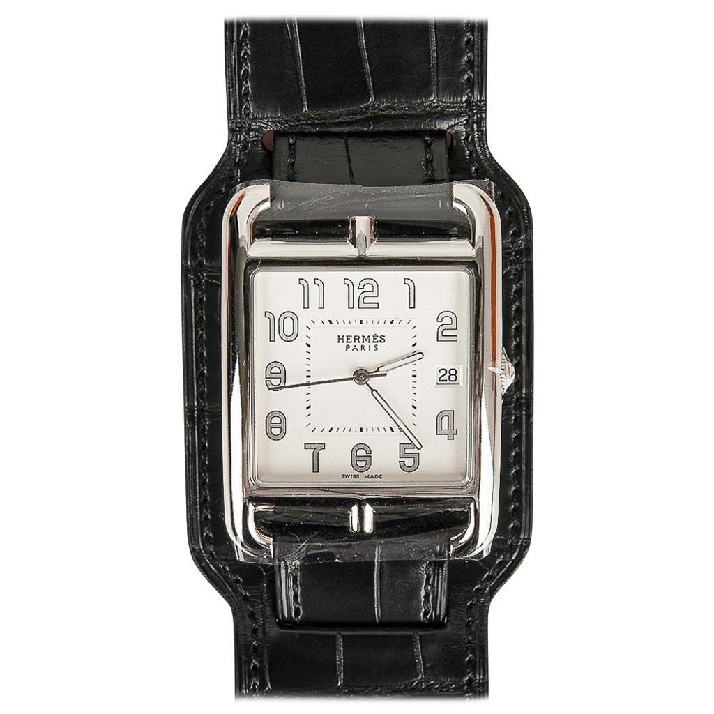 Hermès Cape Cod Watch Steel Black Matte Alligator Cuff Strap Limited Edition New