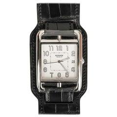 Hermès Cape Cod Watch Steel Black Matte Alligator Cuff Strap