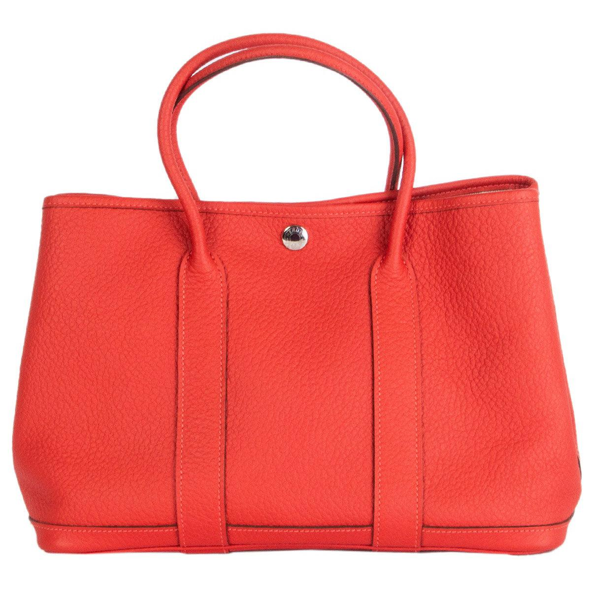 HERMES Capucine coral red Country leather GARDEN PARTY 30 Tote Bag